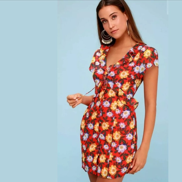 The Fifth Label Dresses & Skirts - The Fifth Label Unite Coral Red Floral Print Dress